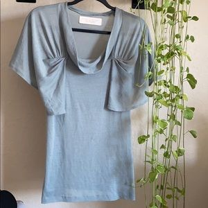 Zara sage green flutter sleeve top